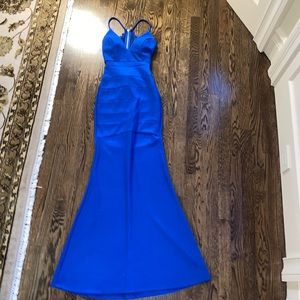 Blue bodycon racerback mermaid dress NWT small